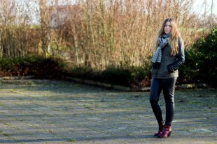 Winter Outfit mit Strickpullover und Parka